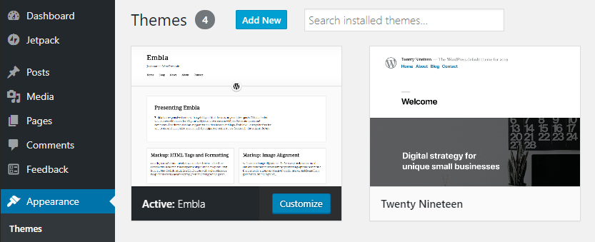 An image describing the Themes Add New screen, with the Add New Button, a search form, and two themes visible.